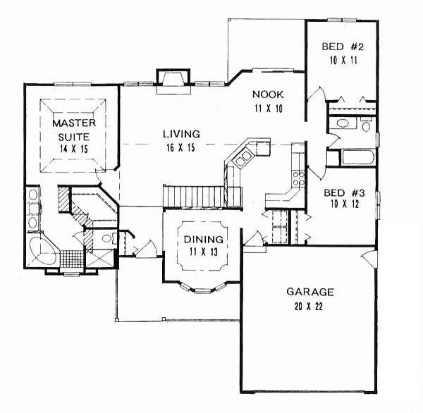 First Floor Plan of Ranch   House Plan 62582