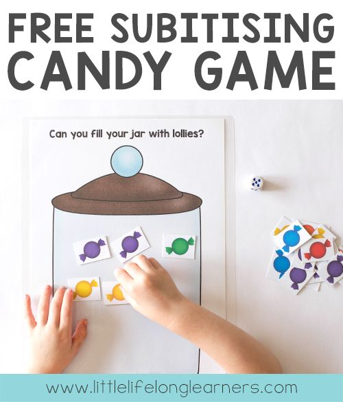 FREE subitising candy dice game for learning how to subitise   Knowing how many there are in a collection without counting   Fun games for Kindergarten, Prep and Foundation students and children   Australian Curriculum - Numeracy, Number  
