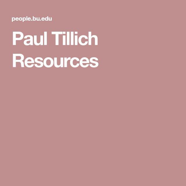 Paul Tillich Resources