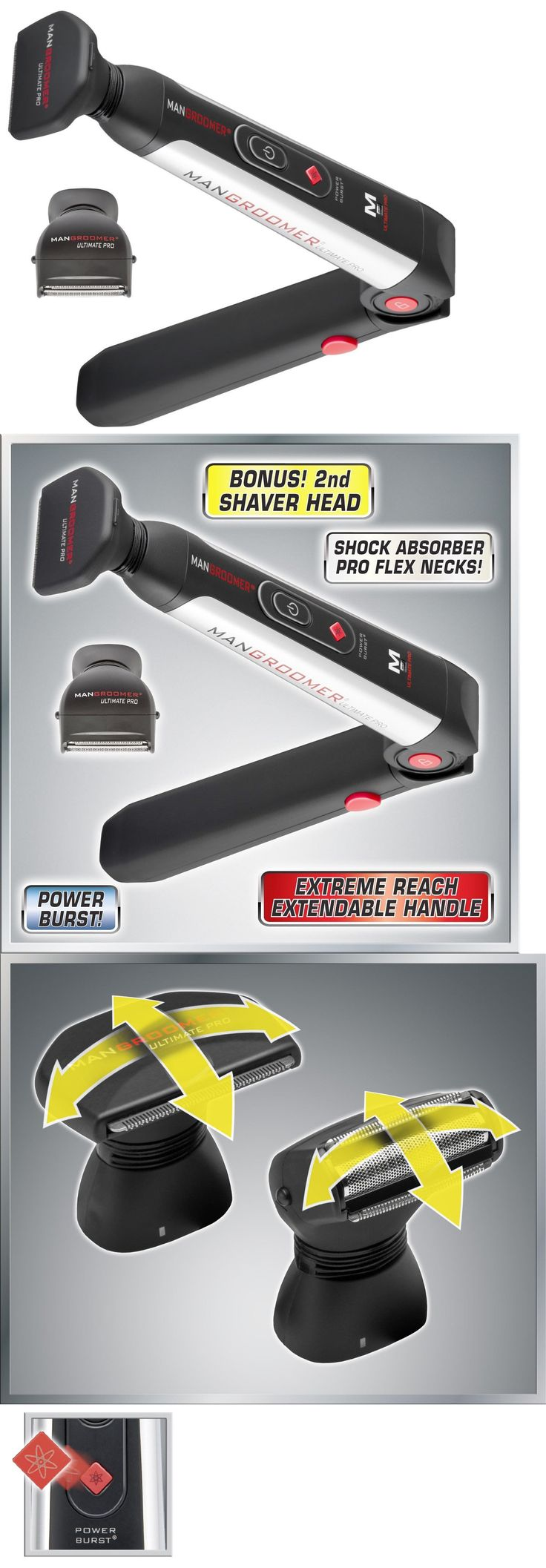 Mens Shavers: Mangroomer Ultimate Pro Back Shaver With 2 Shock Absorber Flex Heads Power Hinge BUY IT NOW ONLY: $53.69