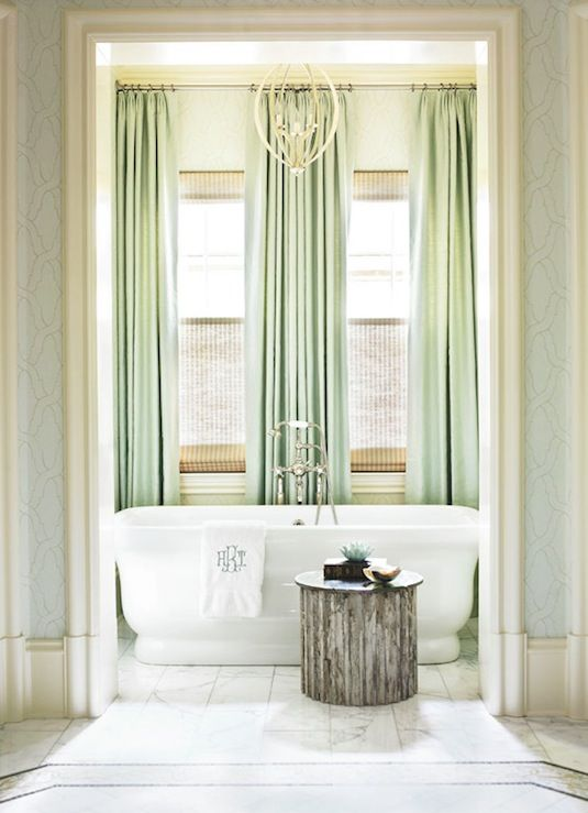 Love The Tall Curtains And Color Pallette. Wall Color And Curtain Color Are  Perfect, Blue And Green. Wall Cover Curtain Idea: Use Thick White/cream  Curtains ...