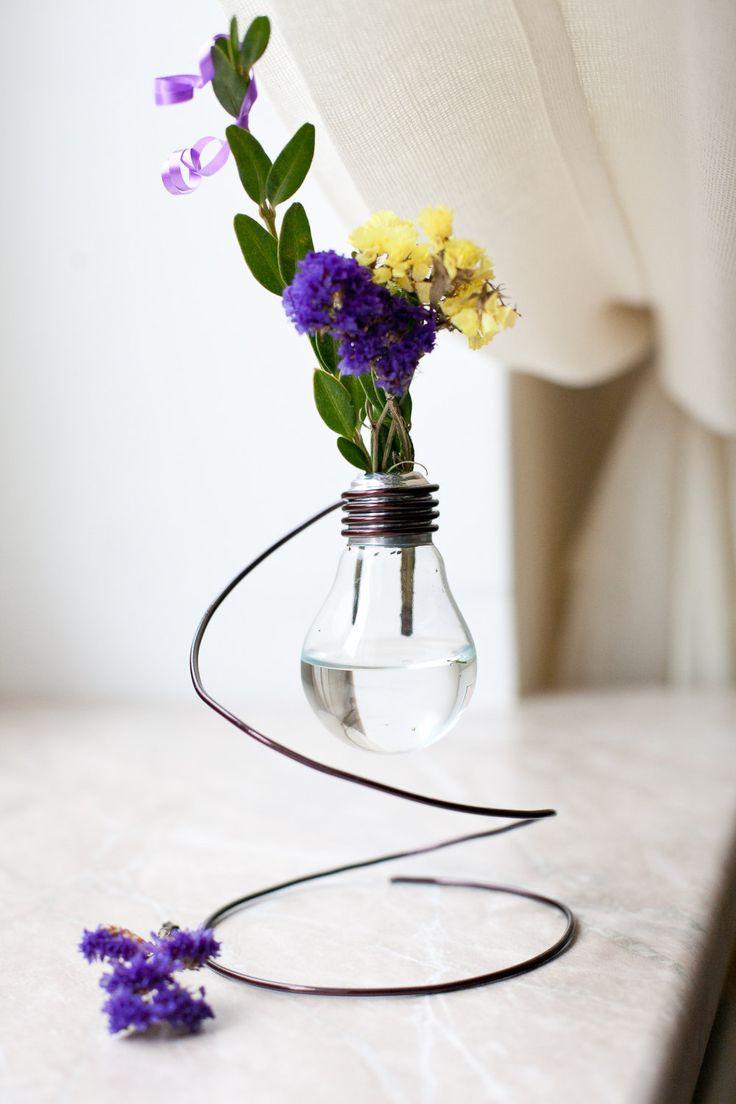 1000 images about lightbulb things on pinterest lightbulbs bulbs - Vintage Vase From Recycled Light Bulb 7 00 Via Etsy