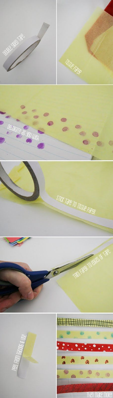 DIY washi tape  Think I would use different pattern papers or small print fabric.  Great  use for scraps. Jury is still out on this art form