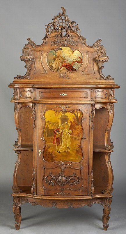 17: Louis XV Vernis Martin style carved walnut vitrine : Lot 17