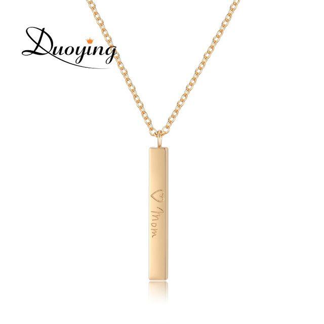 Nome Personalizado Colar Gargantilha Desejo DUOYING Fornecedor Barra Quadrada Personalizar Nome Colares & Pingentes de Ouro Cor Collier Femme