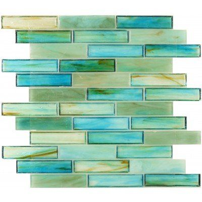 Tropical Caribbean Green Glass Tile 1'' x 4'' For Pool or Bathroom