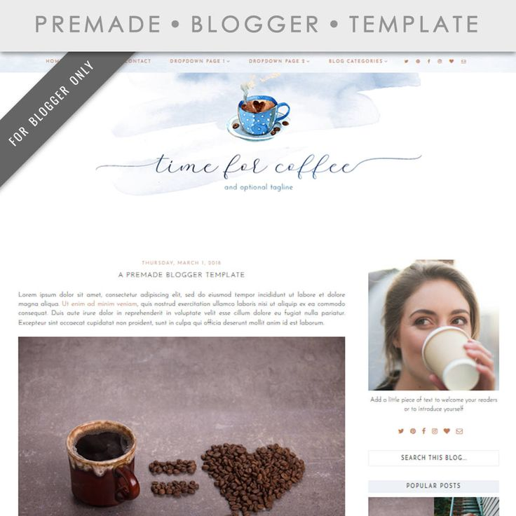 Blogger Template - Mobile Responsive & Dropdown Menu - Watercolor Design Blog - INSTANT DOWNLOAD - Time For Coffee Theme http://etsy.me/2F95OEU #blogtemplate #bloggertemplate #blogtheme #coffee #coffeetheme #coffeeblog #blogger #blogspot #blogdesign #watercolor