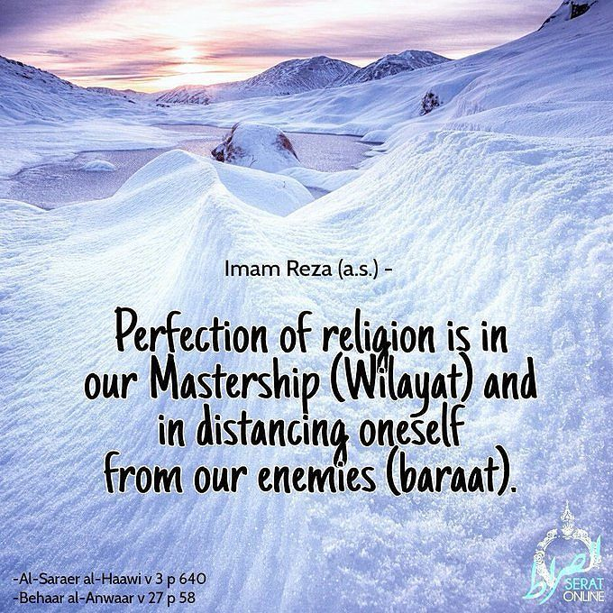 Imam Reza (a.s.)  Perfection of religion is in our Mastership ( #Wilayat ) and in distancing oneself from our enemies..... #Baraat #imamreza