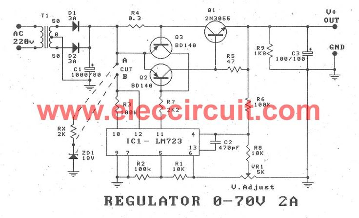 variable power supply circuit, 0 50v at 3a with pcb eleccircuit