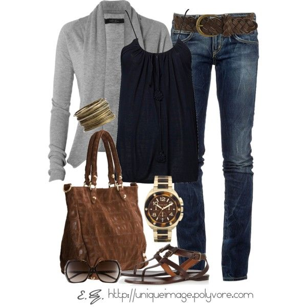 Comfy casual: Style, Long Sweaters, Wrist Watches, Jeans, Fall Outfits, Grey, Casual Looks, Casual Outfits, Belts