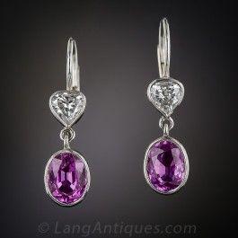 Fuschia Sapphires and Diamond Vintage Drop Earrings