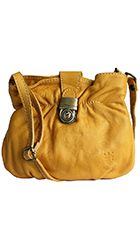 Ruched Yellow Soft Leather Satchel/Cross Body Bag - Down to £34.99 from £19.99