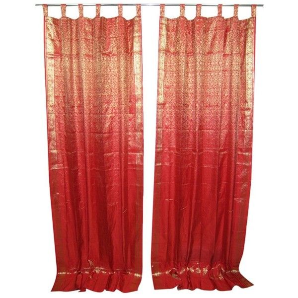 Amazon.com - 2 India Silk Sari Curtains Red Golden Brocade Saree... ($31) ❤ liked on Polyvore featuring home, home decor, window treatments, curtains, bright red curtain panels, red curtain panels, red silk curtains, red window panels and silk curtains