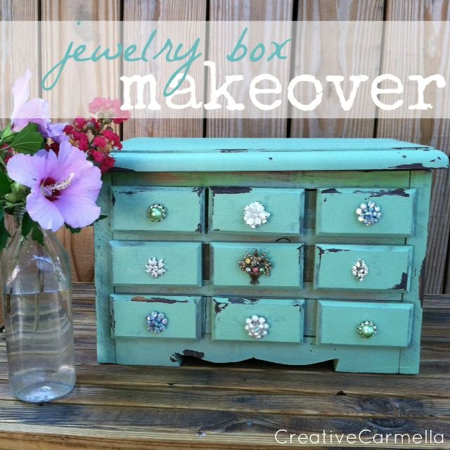 Jewelry Box Makeover....Giving It Some Bling.