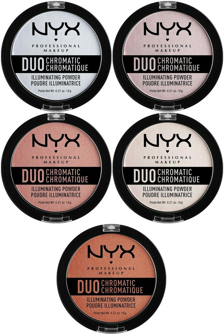 NYX Duo Chromatic Illuminating Powder $8 A silky powder highlighter that contains light-catching pearls to give skin a luminous finish! Shade:  Twilight Tint Lavender Steel Crushed Bloom Snow Rose Synthetica