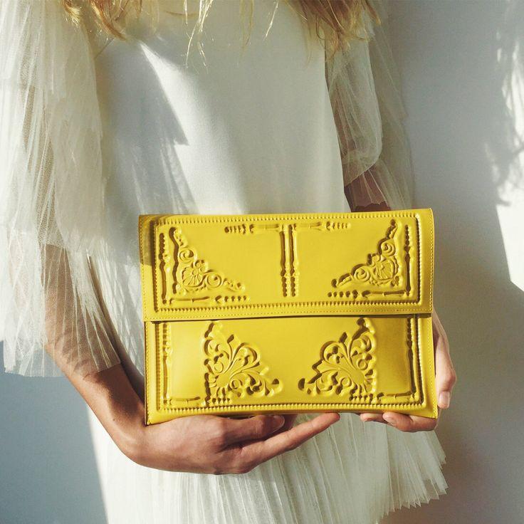 Designer Yellow envelope clutch / designer clutch bag / vegan clutch purse / Yellow envelope clutch  / vegan & cruelty free / MeDusa by MeDusaBags on Etsy https://www.etsy.com/listing/498808219/designer-yellow-envelope-clutch-designer