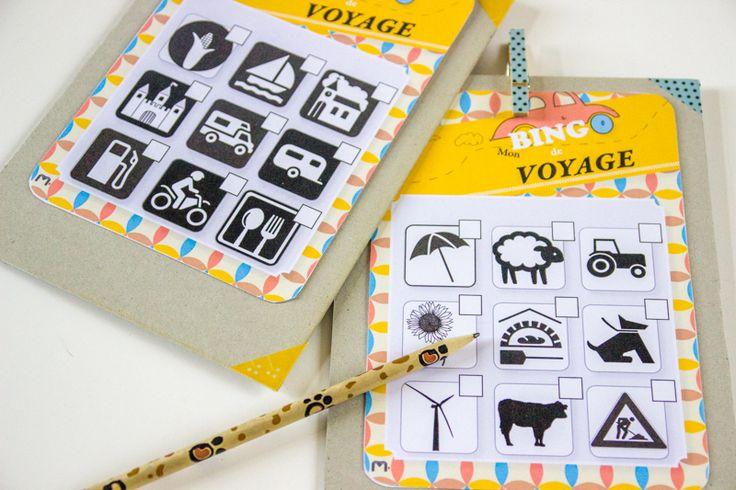 free printable - PDF- bingo de voyage.  Jeu pour enfants pour trajets en voiture