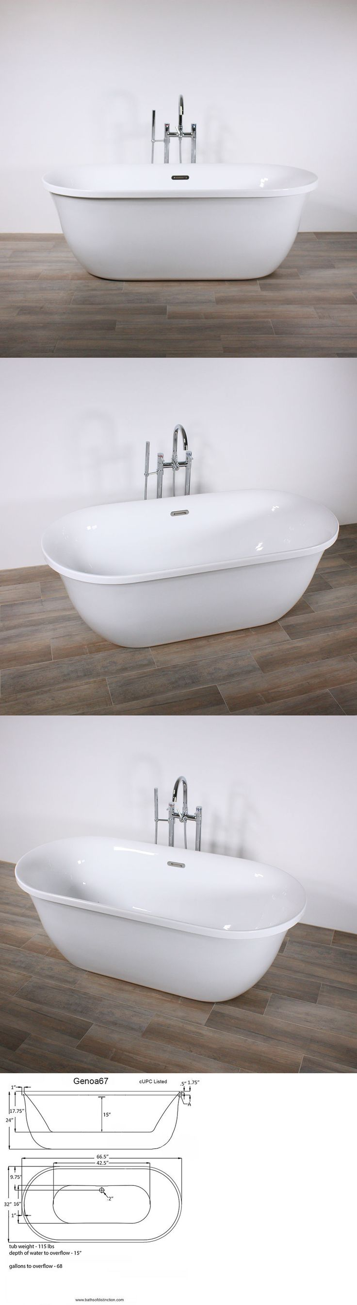 Bathtubs 42025: Freestanding Bathtub Genoa 67 Oval Acrylic Tub With Chrome Drain - No Faucet -> BUY IT NOW ONLY: $685 on eBay!