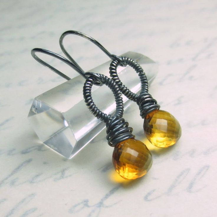 Golden Citrine Faceted Gemstone Argentium Sterling Silver Earrings, Prosperity and Wealth, November Birthstone, Dark Patina $38 Healing Crystal Jewelry http://www.healingcrystaljewelry.ca/collections/earrings/products/citrine-earrings
