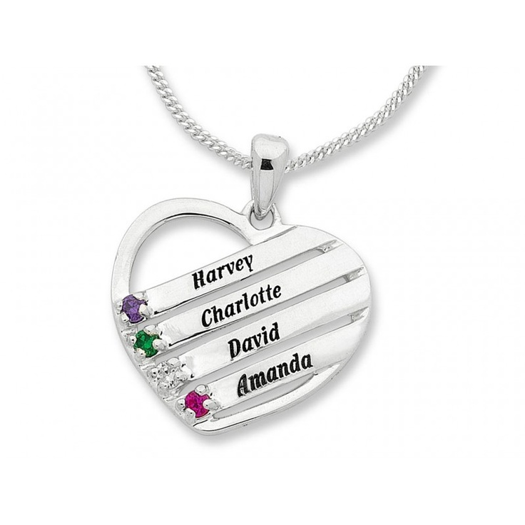 Personalised Heart Shape Birthstone Name Necklace