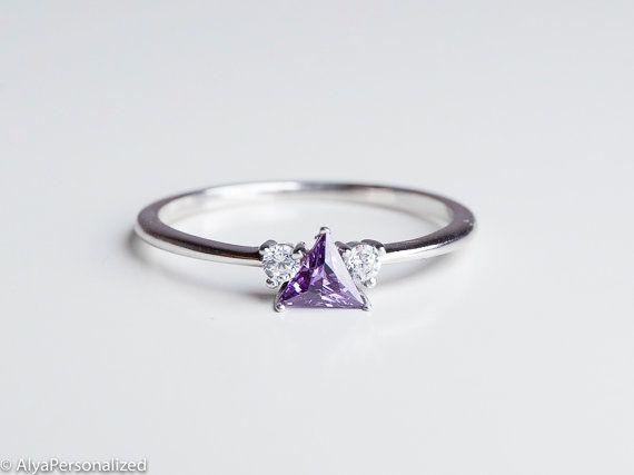 Amethyst Verlobungsring  Billionen geschnittenen Ring
