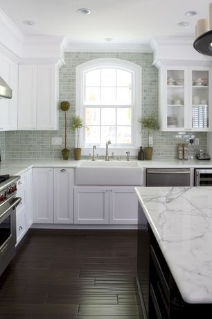 Traditional Kitchen with Specialty Window, Farmhouse Sink, L-shaped, Glass panel, Fireclay Tile 2 x 4 Rosemary, Crown molding