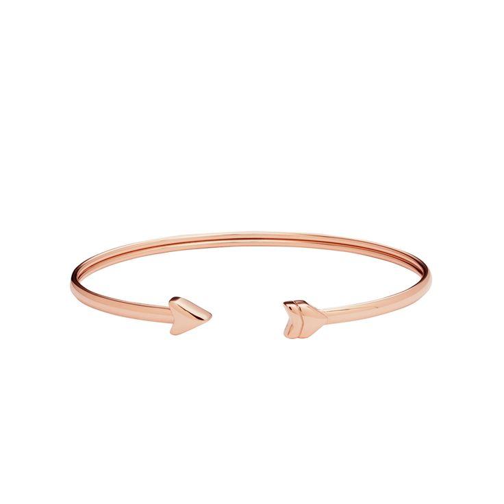 Bracelet jonc ouvert Fossil Vintage motif doré rose JF02451791 pour FEMME