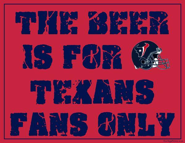 Houston Texans Fan Sign - Man Cave Sign