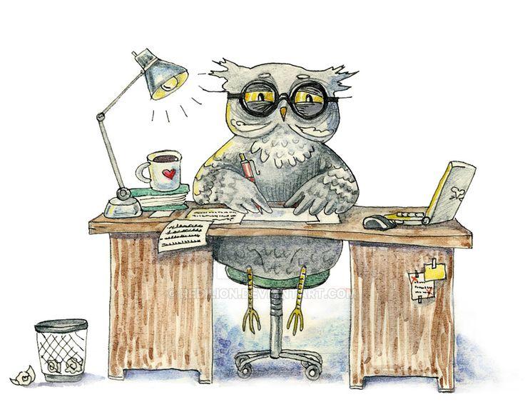 Workaholic owl by redilion