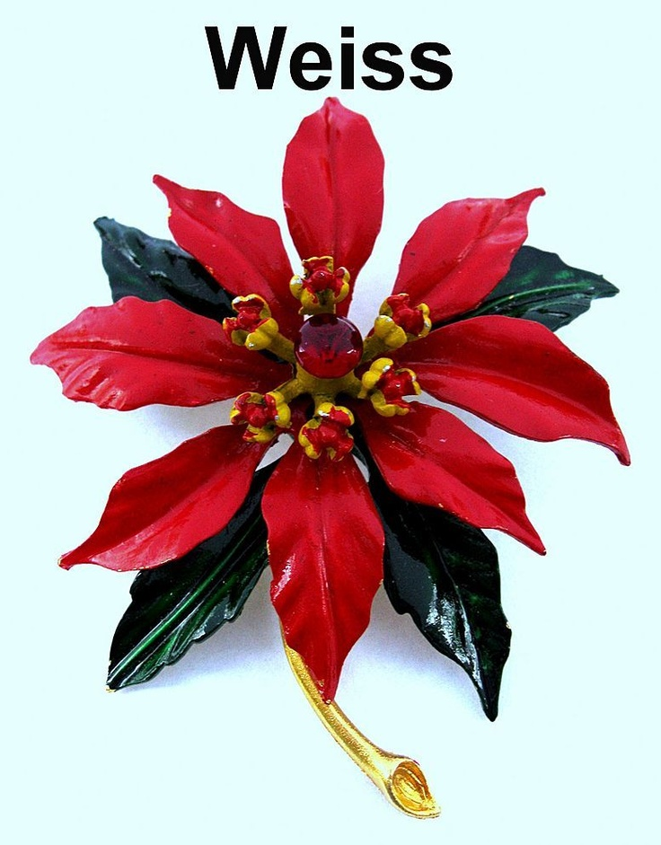 Vintage WEISS Christmas Poinsettia Flower Brooch