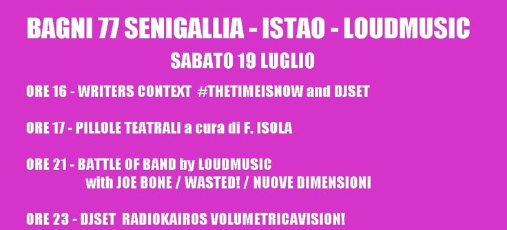 ARTE LIVE // THEATRE-WRITERS-LIVE MUSIC-DJSET at BAGNI77SENIGALLIA!