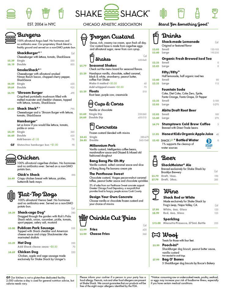 Shake SHack Chicago menu _ Kcal