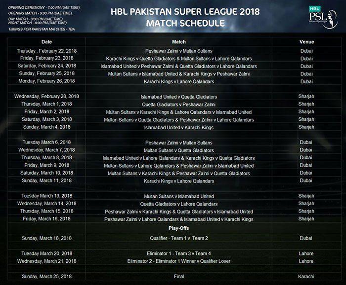 PSL Schedule (lifesilky.com)
