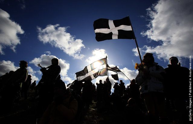 Crowds gather to watch the annual processional play to celebrate St. Piran, patron saint of tinners and regarded by many as Cornwall's premier saint http://avaxnews.net/charming/Locals_Celebrate_St_Pirans_Day_In_Perranporth.html