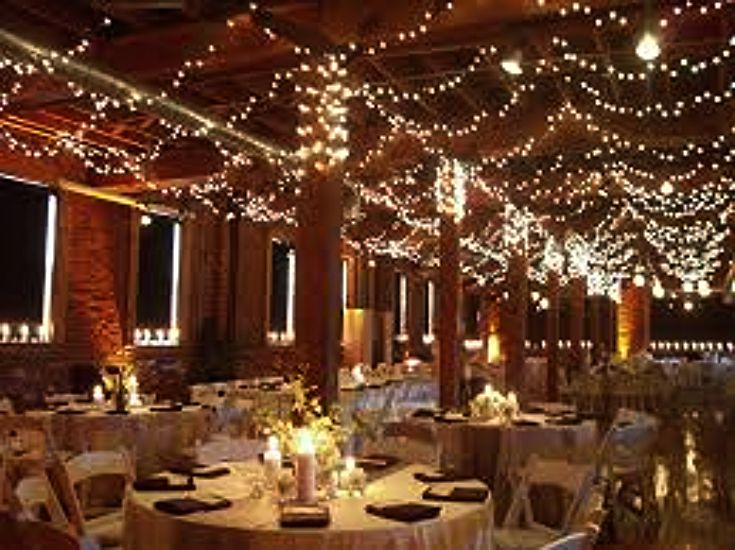 An idea for your wedding reception or rehearsal dinner is to have lights gracefully hung from the ceiling to add the effect of stars overhead. .  Use these ideas for decorating and leave the ring to us.