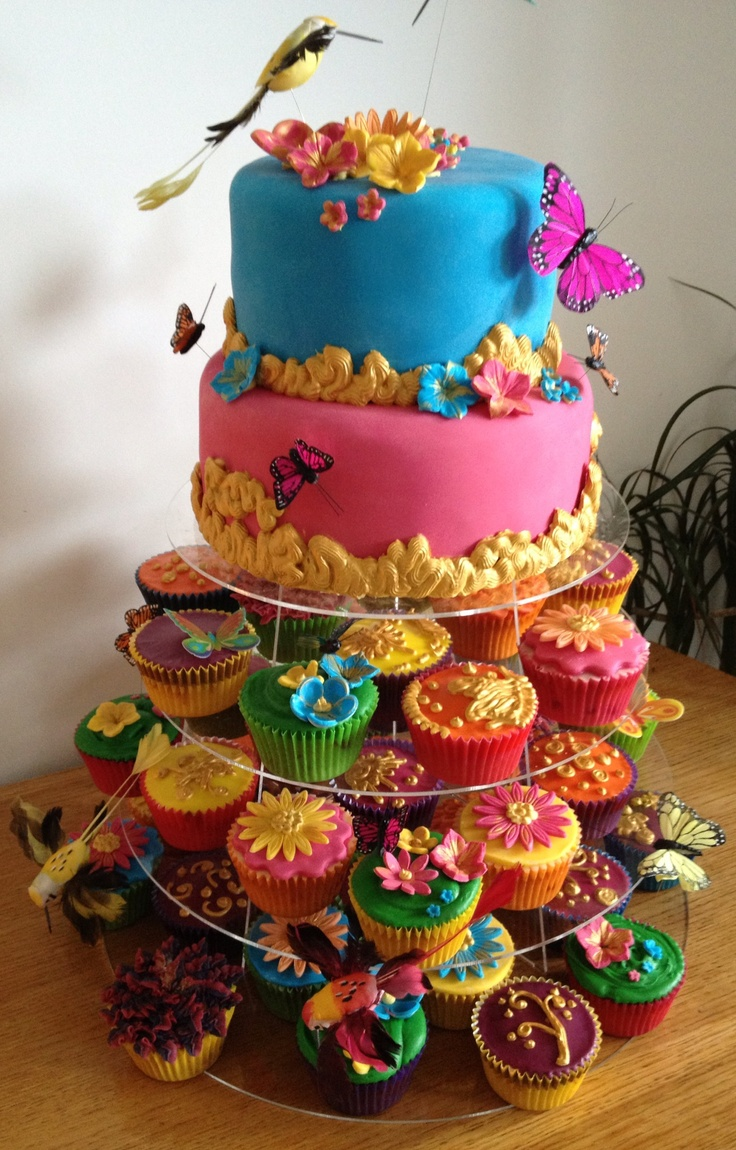 Colourful flower and humming bird cake