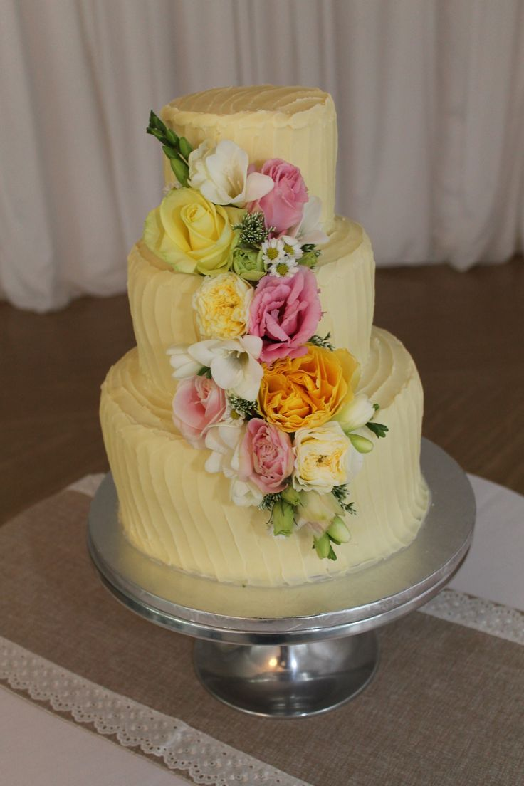 Pink and lemon waterfall  cake flowers - Rustic wedding flowers made by Amy's Flowers