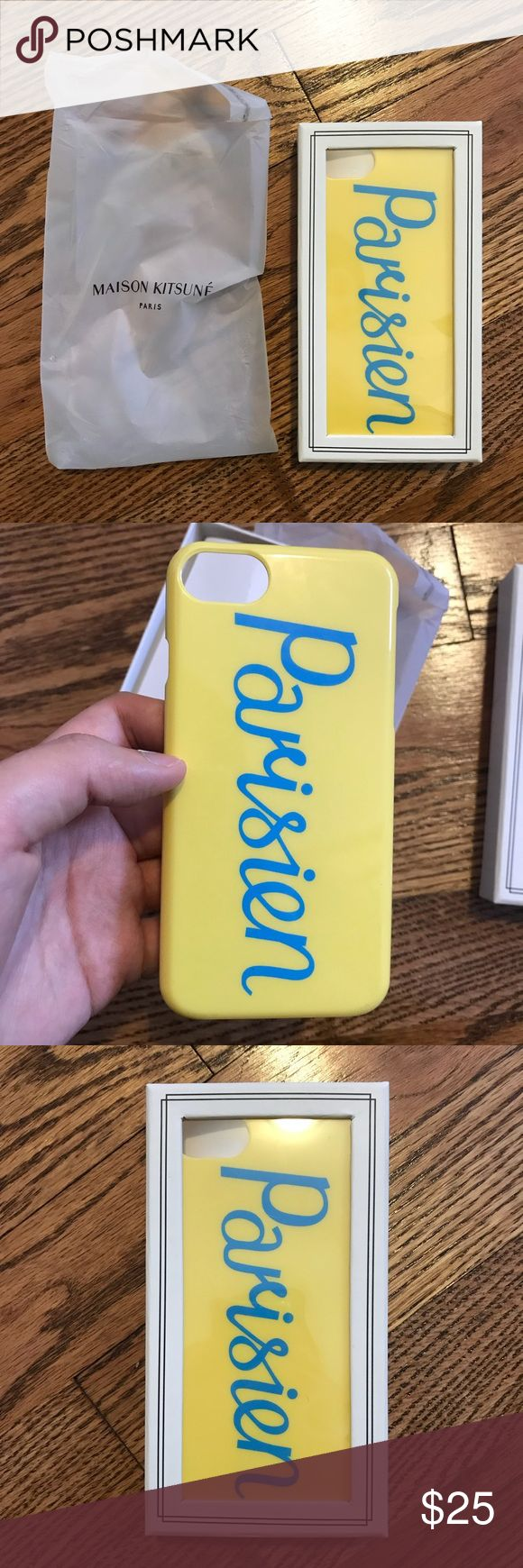 Maison kitsune iphone 7 parisien case Yellow Parisien print iPhone 7 case from Maison Kitsuné. Colour: GIALLO Imported Outer Composition: polycarbonite 100% See photos for condition. Few scratches on the corners Original price $48 MAISON KITSUNE Accessories Phone Cases
