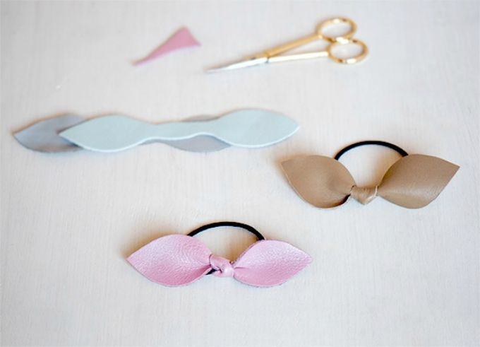diy leather bow hair tie                                                                                                                                                                                 More