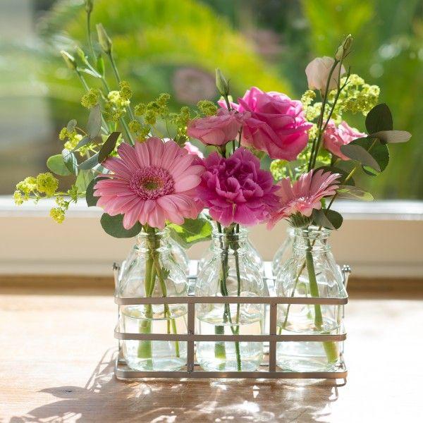 Flower bottles tickled pink blooms herbs flower for Flowers in glass bottles