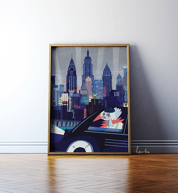New York illustration by Gosia Herba. This is a high-quality giclée print on 230G archival paper. 50x70cm.