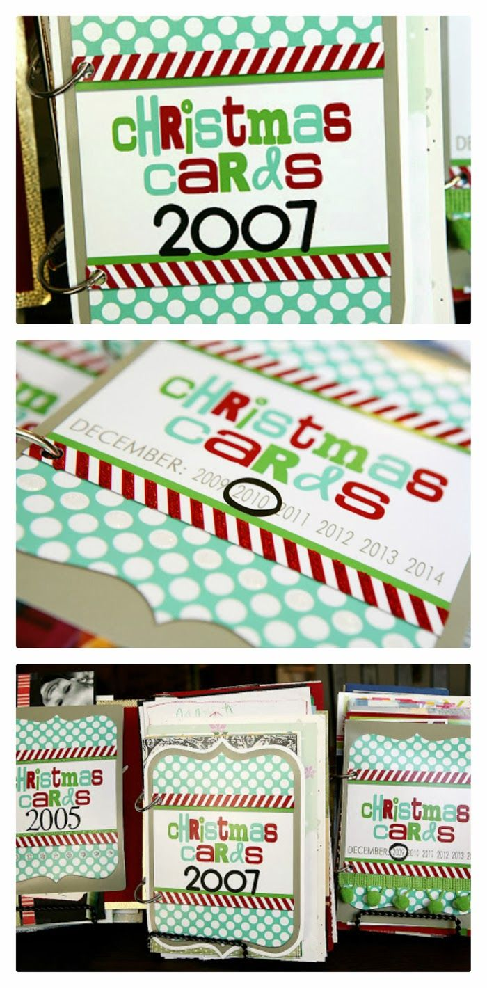Christmas card books. Save all the Christmas cards you get and then make them into a little book each year. Includes the free printable cover. Love this idea!