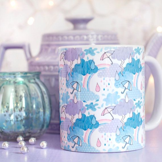 Cute Patterned Mug - Look For Rainbows Collection - Weather Illustration