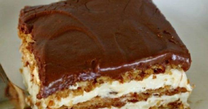 Fenséges sütemény, amivel alig van munka, 15 perc alatt elkészíthető, csak győzd kivárni amíg lehűl! Hozzávalók: 45 dkg háztartási keksz 2 csomag vanília ízű Aranka…
