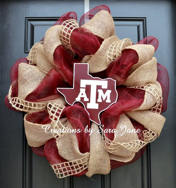 Really cute burlap Aggie wreath!