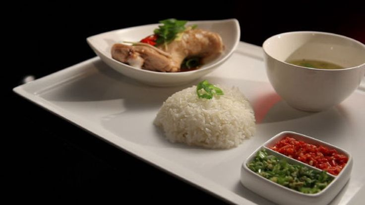 Hainese chicken with rice, spring onion, ginger and coriander dipping sauce