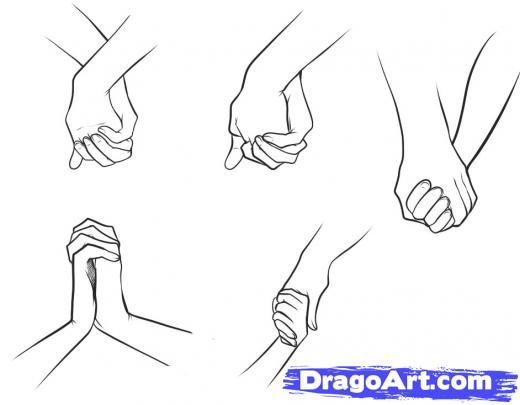 How To Draw Anime Couples Holding Hands Step By
