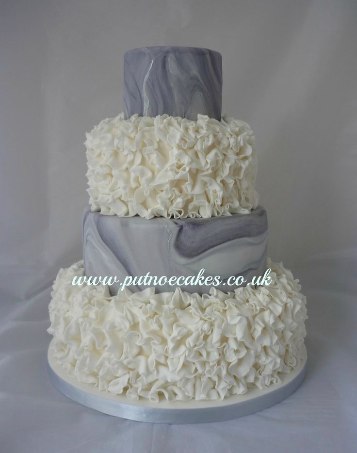 Grey And Silver Marbled Frilled 4 Tier Wedding Cake Bedford UK