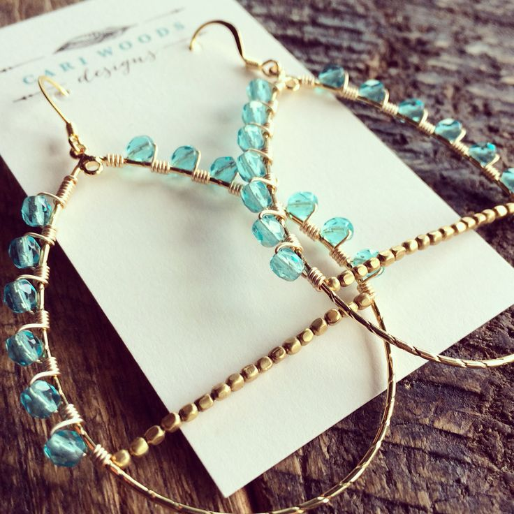 Wire wrapped aqua faceted glass bead earrings