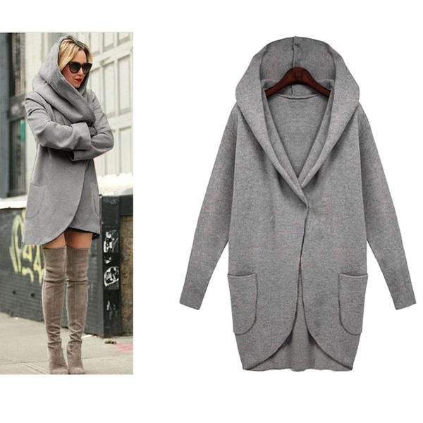 d2b388b9d9 Fashion Long Sleeve Loose Hooded Woolen Cardigan Plus Size Jacket - Candy  Couture Boutique